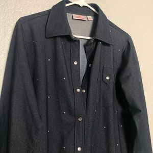 Long Sleeve Collared Jacket (bedazzled)